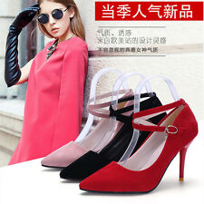 New Women's Fashion Sexy Color Pointed Toe Patent Ankle Strap Pump Heels Shoes