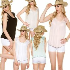Blouse Top Shirt Sexy Ladies Sleeveless Crochet Lace Leisure Jersey S 34 36 38