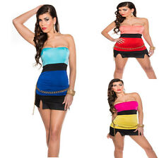 Sexy Women'S Bandeau Top Shirt Bi Colour Strapless padded Party Club S 34 36
