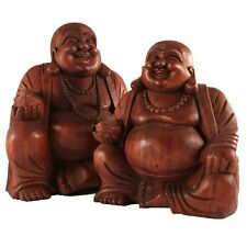 Hand-Carved Suar Wood, Seated Laughing Buddha - Large
