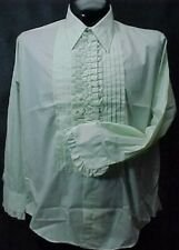VINTAGE RUFFLED TUXEDO TUX SHIRT RETRO LIGHT GREEN MADE IN USA MANY SIZES