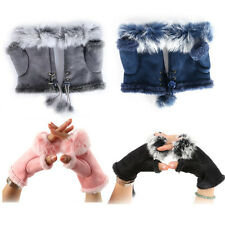 1Pair Soft Women Warm Winter Women Rabbit Fur Suede Fingerless Gloves Mittens
