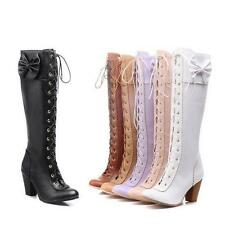 Women's lolita bowknot High chunky Heel Lace Up Zip Knee Boots Shoes US Size
