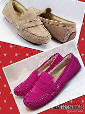 "COLE HAAN 6, 7.5 ""SADIE"" SHEARLING PINK, BEIGE SUEDE DRIVING MOCCASINS shoes"
