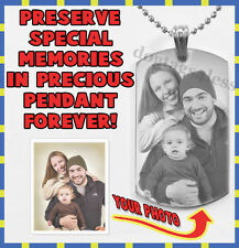 Personalized Photo & Text Engraving Dogtags Pendant Necklace Christmas Gift