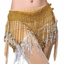 Belly Dance Coin Chain Hip Scarf Waist Tassels Tribal Silver Wrap Belt Costume