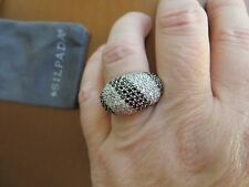 Silpada Retired RARE White/Black  CZ Sterling Silver Cocktail Ring - Size 8
