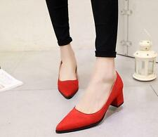 Womens Low Chunky Heel Dress Pointy Toe Slip on Pumps work office Shoes Size