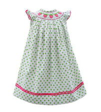 Girls Dress Green Polka-Dot Smocked Strawberries Infant Toddler by Babeeni NWT