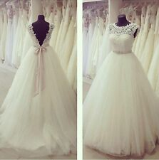 Stock White/ivory Lace+ Tulle Wedding Dress Bridal Gown Size 6 8 10 12 14 16 18