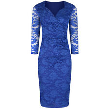 40s Vintage Long Sleeve Royal Blue Lace Wiggle Bodycon Cocktail Pencil Dress