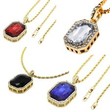 """Mens 14k Gold Plated Iced Out Ruby Octagon Pendant Hip-Hop 24"""" Rope Chain"""
