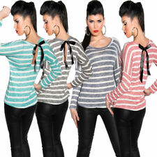 New Ladies Fine Knit Long sleeves Top Shirt Sweater striped Bix S 36
