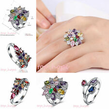 Womens Colorful Crystal Flower Design Engagement Silver Plated Rhinestone Ring