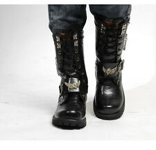 NEW BAND ROCK-2016 TOP PUNK Fashion MEN COOL Motorcycle ARMY Riding long boot