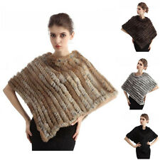 Women 100% Real Rabbit Fur Wrap Shawl Scarf Cape Poncho Scarf Outwear 5 Colors