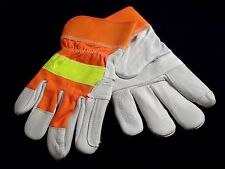 Mens Deerskin Work Gloves by North Star w/Reflective Band Yellow and White