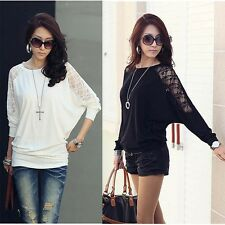 Women Loose Batwing Dolman Lace Long Sleeve Casual Top T Shirt M Xxl