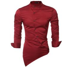 Men Luxury Long Sleeve Personality Oblique Single-breasted Slim Fit Shirt
