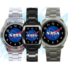NEW Wrist Watch Stainless Sport Barrel Analogue NASA logo