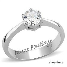 Beautiful Round Cut CZ Solitaire Stainless Steel Engagement Ring Women's Sz 5-10
