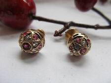 ANTIQUE 18 CARAT ROSE GOLD DIAMONDS(12) and RUBIES(14) QUALITY EARRINGS,