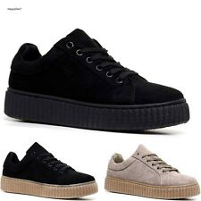 Ladies Womens Chunky Platform Suede Lace Up Creepers Trainers Plimsolls PU Shoes