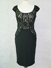 GINA BACCONI SKK2092 BLACK LACE PANEL COCKTAIL EVENING DRESS RRP £235 SAVE 40%