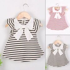 Infants Baby Kids Girls Princess Dress Stripe Bow Party Gown Casual Dresses 0-4Y