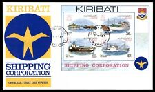 Kiribati Shipping Souvenir Sheet Cacheted Unaddessed 1984 FDC Sc  443a