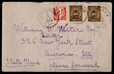 1934 Belgium cover to Aurora Illinois USA 175 rate multifranked