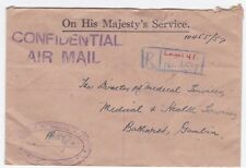 Nigeria Lagos to Gambia Confidential Official Registered 1957 Airmail cover