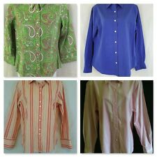 Talbots Womens Pink Green Blue Button Front Shirt Blouse Size 2P 6 8 14