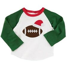 Mud Pie MH5 Holiday All Boy Baby Toddler Boy Christmas Football T-Shirt 1052119