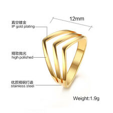 """Hot Trendy Popular """"V"""" Design Size 5-8 Stainless Steel Women's Personality Rings"""