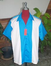 Men's Rockabilly Vintage 1950's Style  Retro Bowling Shirt  Turquoise  & Cream