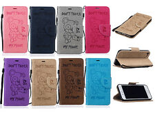 Cute Bear Pattern PU Leather Card Holder Flip Wallet Case For iPhone 5 6s 7 plus