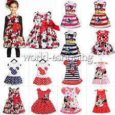 Newborn Kids Baby Girls Cartoon Minnie Mouse Top Vest Dress Party Skater Dresses