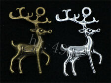 5/20/80pcs Antique Silver/Bronze Lovely two-sided Deer Charms Pendant 23x31mm