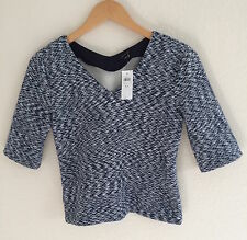 NWT Ann Taylor Size XS Navy Blue Blended with White Top Jacket - $69.50