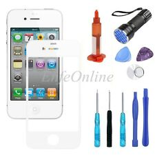 For Apple iPhone 4 / 4S White Front Touch Screen Lens Replacement Glass Tools