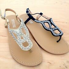 NEW Women Ladies Fashion Gold Black Rhinestone Cut Out Buckle Thong Sandals