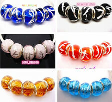 Fashion Irregular Foil Lampwork Glass Big Hole Beads Fit European Charm Bracelet