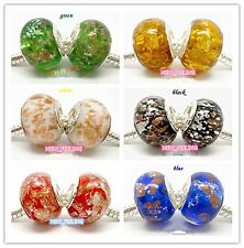 Beautiful Foil Snow Design Lampwork Glass Beads Fit European Charm Bracelet