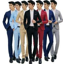 Mens dress formal suits coat pants one button lapel wedding party slim fit color