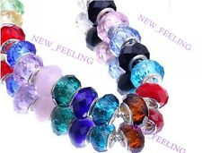 Fashion Faceted Crystal Big Hole Beads Fit European Charm Bracelet