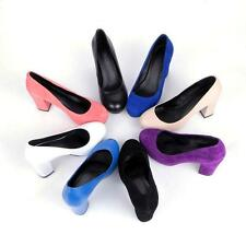 Womens high Chunky Heel Platform Faux suede OL dress formal Shoes Court Size