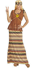 Ladies Hippie Costume 60s 70s Hippy Woman Plus Size Top + Skirt Up to Size 24