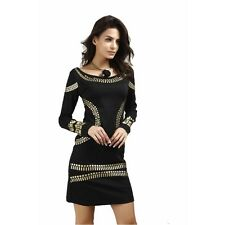 Round Collar Gold & Black Dress Knee-Length Formal Cocktail Exotic Empire o neck