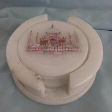 Taj Mahal Italian Marble 6 Coaster Set Inlay Of Mother Of Pearl India